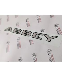Abbey Name Outlined Text caravan stickers