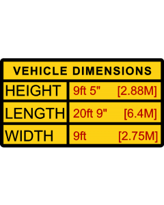 Vehicle Size Sticker Length Height Width Imperial and Metric