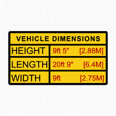 New Product - vehicle height sticker